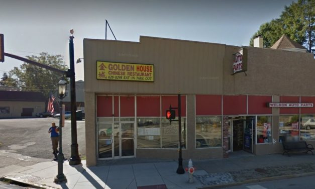 10 inspection violations at Ambler's Golden House Chinese Restaurant; Mice-like droppings observed on floor under 3-compartment sink, Blue plastic bags being washed and reused to store food products