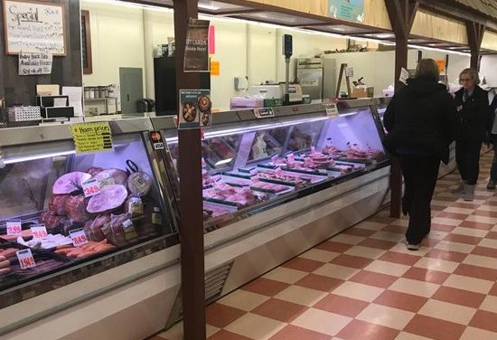 Inspection Aaron's Fresh Meats in Newtown; employees washing hands over sausage casings in hand sink, this is not approved