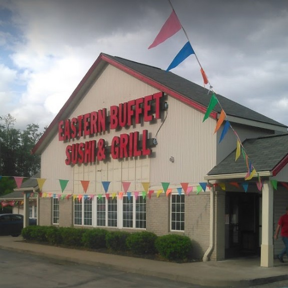 22 violations at Eastern Buffet Sushi & Grill in Uniontown inspection; Shelving in all walk-in coolers heavily rusted, Panko breading in the dishwashing area stored open with no covering