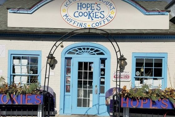 Inspection-Hope's Country Fresh Cookies in Bryn Mawr; Rodent-like droppings observed on the left side floor next to the 3 basin sink