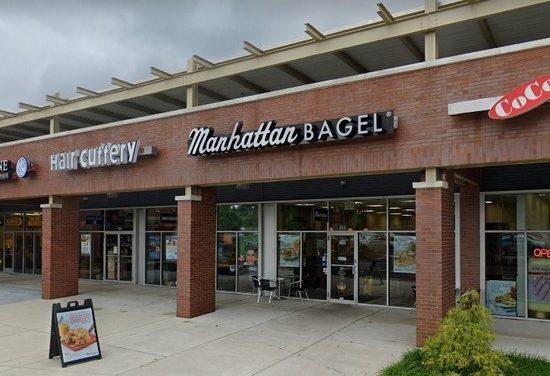 Inspection Manhattan Bagel Warrington; Wet bag of ingredients on floor from being mopped, Employees observed without masks