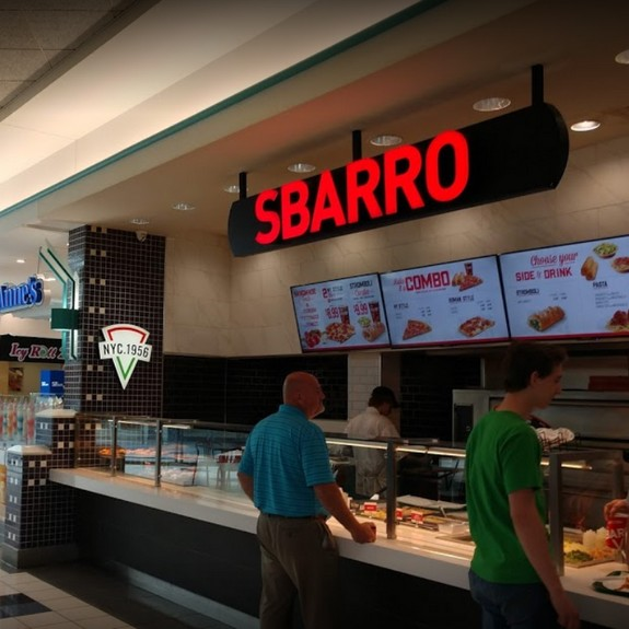 Inspection Sbarro Westmoreland Mall; Black filth, pink slime observed interior of the ice machine bin,  freeze plate,  discharge chute, 3rd repeat violation