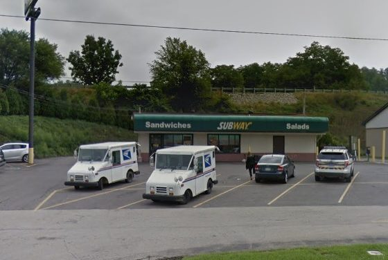 Belle Vernon Subway fouls inspection; Black filth, pink slime observed on the interior of the ice machine bin, bread pans have food residue