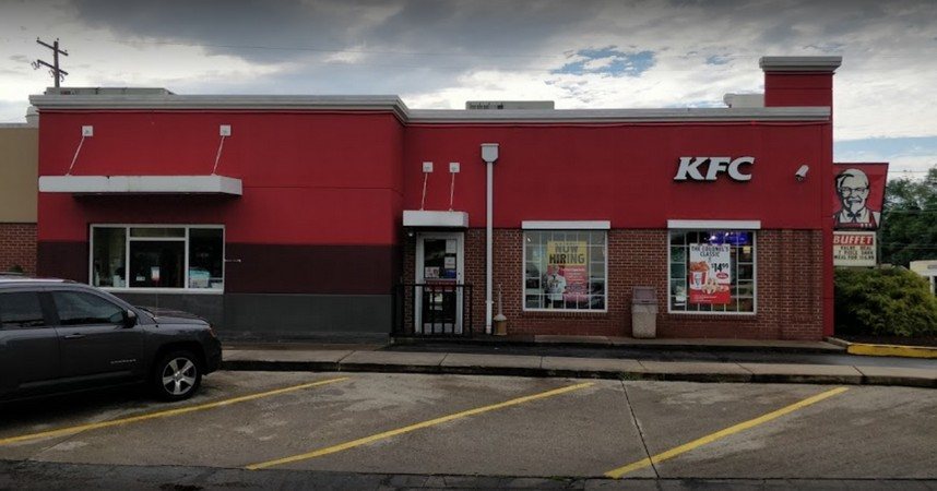 """Irwin KFC bumbles inspection; """"Soda dispensing nozzles and surrounding area, a food contact surface, was observed to have food residue and was not clean to sight and touch"""""""