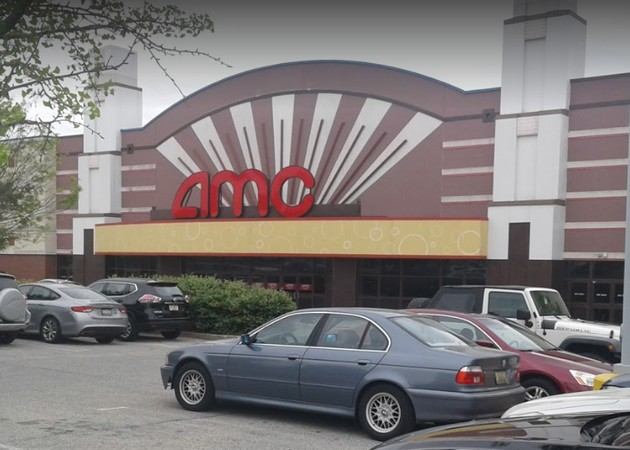 AMC Theatres Plymouth Meeting Mall fumbles inspection; Dead mouse on trap at loading dock, mouse like droppings observed in cabinet in front service area