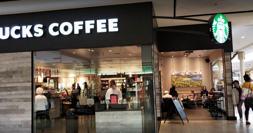 Montogmery Mall Starbucks hit by Health Dept for fruit fly like insects observed at back prep area, hot water lacking at front hand sink behind check out
