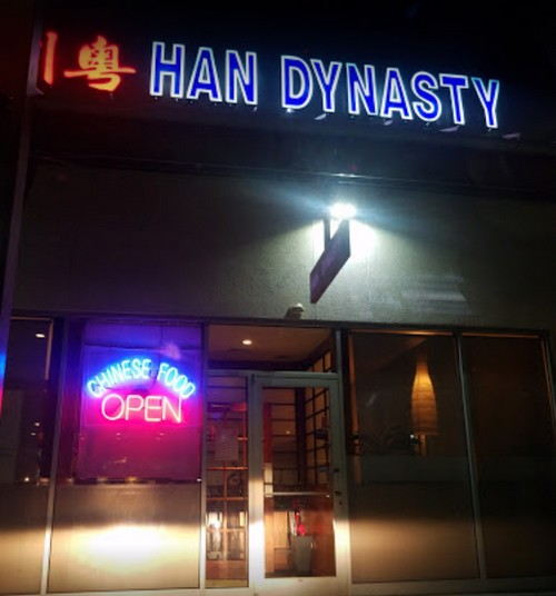 Royersford's Han Dynasty bumbles inspection; Employee washing hands with gloves on, Interior back splash of large ice machine with debris
