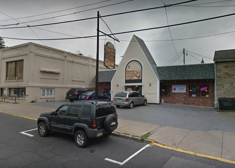 Pizza Mia in Bellefonte fumbles inspection; 6 nozzles on the soda machine had a build up of a dried, brown residue