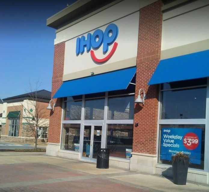 Inspection IHOP Glen Mills; 9 violations, Kitchen walls were impacted with old dark dried multi-colored food residues, Kitchen floor area of the food facility is extremely dirty