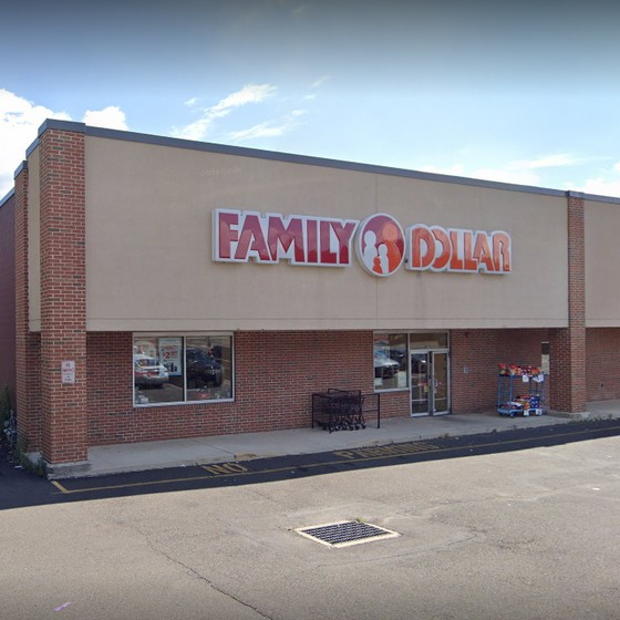 Family Dollar in Abington bumbles inspection; Rodent like droppings observed on floor in corner and along wall at desk area, end of freezer, and under detergent section