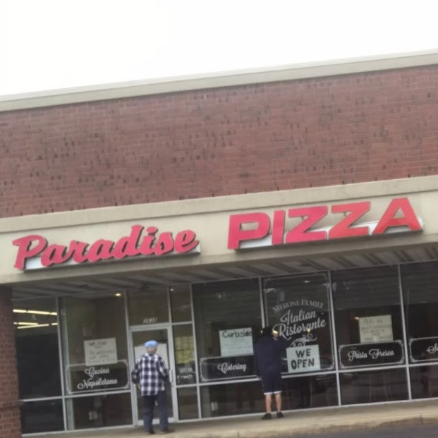 22 violations at Paradise Pizza in Audobon; Open bag of flour stored in non-food grade container, Baseball cap stored with food items