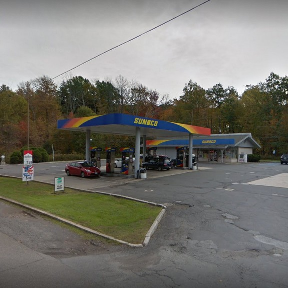 Mountain Top Sunoco fumbles inspection; Rodent droppings surrounding utility sink and in dry storage area, Nozzles and surrounding area of cappuccino machine, a food contact surface, was observed to have old food residue
