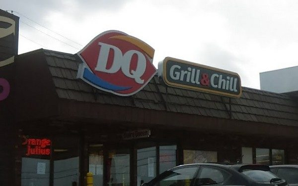 DQ Grill & Chill outside Belle Vernon inspection; Raw burgers sitting on ice build up on shelf exposed to water dripping from above shelf