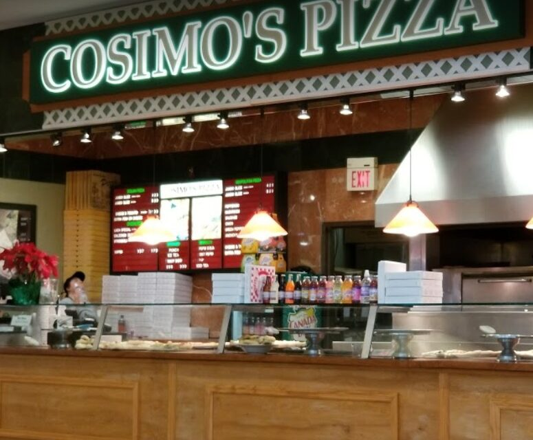 Cosimo's Pizza at the Willow Grove inspection finds 8 times repeat violation rodent-like droppings observed on floor in front counter areas along perimeter of counter and around equipment